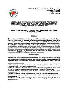 Multi-Axial Full-Scale Sub-Structured Testing and Simulation (Must ...