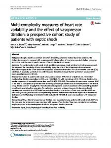 Multi-complexity measures of heart rate variability ... - Semantic Scholar