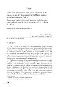 Multi-level governance and social cohesion in the European ... - SciELO