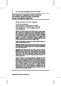 Multi-objective integrated solvent selection and solvent recycling ...