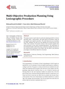 Multi-Objective Production Planning Using