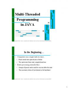 Multi-Threaded Programming in JAVA