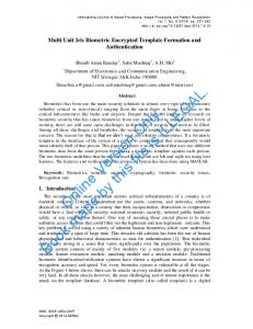 Multi Unit Iris Biometric Encrypted Template Formation and ... - SERSC