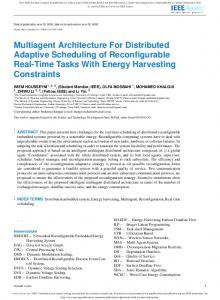 Multiagent Architecture For Distributed Adaptive ... - IEEE Xplore
