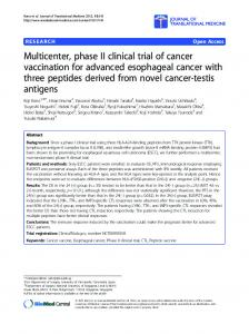 Multicenter, phase II clinical trial of cancer vaccination ... - Springer Link