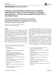 Multicenter randomized phase II clinical trial of oxaliplatin ...