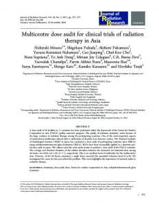 Multicentre dose audit for clinical trials of radiation ... - IEEE Xplore
