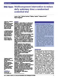 Multicomponent intervention to reduce daily ... - BioMedSearch