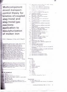 Multicomponent mixed -tra nsport- control theory for kinetics of ...