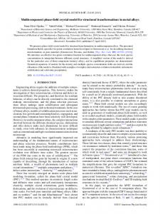 Multicomponent phase-field crystal model for ... - McGill Physics