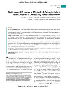 Multicontrast MR Imaging at 7T in Multiple Sclerosis: Highest Lesion ...
