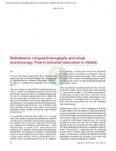 Multidetector computed tomography and virtual bronchoscopy: Role ...
