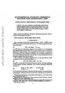 MULTIDIMENSIONAL STOCHASTIC DIFFERENTIAL EQUATIONS ...