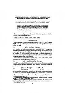 MULTIDIMENSIONAL STOCHASTIC DIFFERENTIAL EQUATIONS