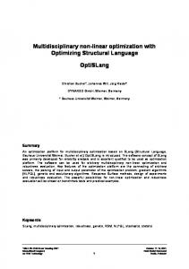Multidisciplinary non-linear optimization with Optimizing Structural ...