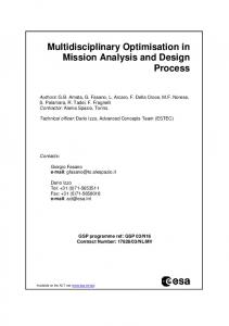 Multidisciplinary Optimisation in Mission Analysis and Design ... - ESA