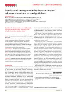 Multifaceted strategy needed to improve dentists' adherence ... - Nature