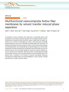 Multifunctional nanocomposite hollow fiber membranes by solvent