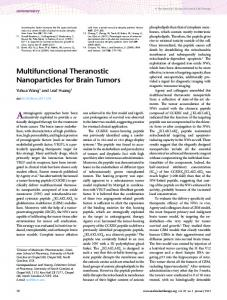 Multifunctional Theranostic Nanoparticles for Brain ...
