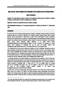 MULTILEVEL ONTOLOGIES FOR DOMAINS WITH ... - CiteSeerX