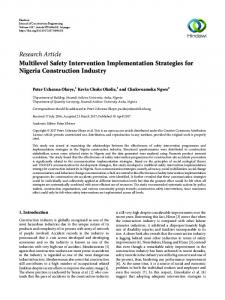 Multilevel Safety Intervention Implementation Strategies for Nigeria ...