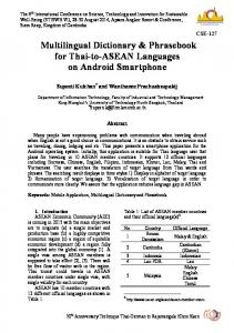 Multilingual Dictionary & Phrasebook for Thai-to ...