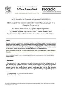 Multilingual Online Resources for Minority Languages ...