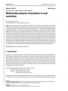 Multimodal analysis of quotation in oral narratives - The Mind ...