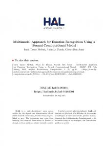 Multimodal Approach for Emotion Recognition Using a ... - HAL-Inria