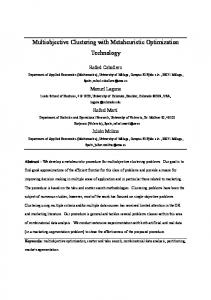 Multiobjective Clustering with Metaheuristic ... - Semantic Scholar