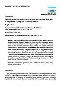 Multiobjective Optimization of Water Distribution Networks ... - MDPI