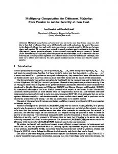 Multiparty Computation for Dishonest Majority - Cryptology ePrint ...