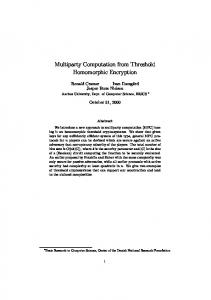 Multiparty Computation from Threshold Homomorphic Encryption
