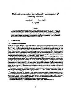 Multiparty computation unconditionally secure against adversary ...