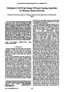 Multipath-LEACH an Energy Efficient Routing Algorithm for Wireless ...