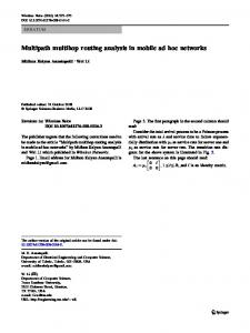 Multipath multihop routing analysis in mobile ad hoc ... - Springer Link