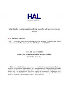 Multipath routing protocol for mobile ad hoc networks