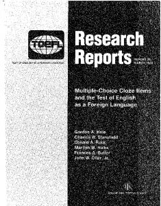 Multiple-Choice Cloze Items and the Test of English as a ... - ETS
