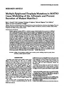 Multiple Epiphyseal Dysplasia Mutations in MATN3 ... - BioMedSearch