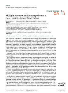 Multiple hormone deficiency syndrome: a novel topic ... - Future Science