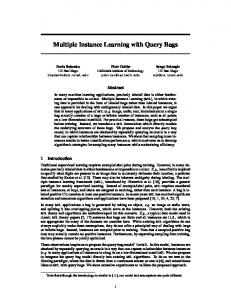 Multiple Instance Learning with Query Bags - Cornell Vision Pages