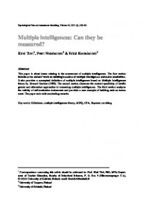 Multiple intelligences: Can they be measured?