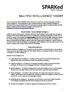 MULTIPLE INTELLLIGENCE THEORY - KQED