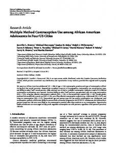 Multiple Method Contraception Use among African American ...