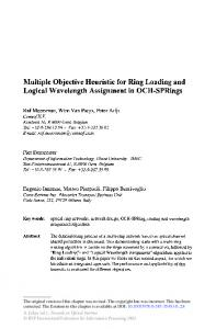 Multiple Objective Heuristic for Ring Loading and ... - Springer Link