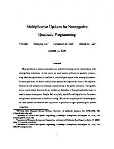 Multiplicative Updates for Nonnegative Quadratic ... - UCSD CSE