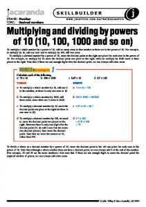 Multiplying and dividing by powers of 10 (10, 100, 1000 and so on)