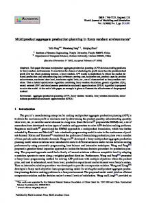 Multiproduct aggregate production planning in ... - Semantic Scholar