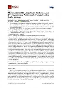 Multipurpose HTS Coagulation Analysis: Assay Development ... - MDPI