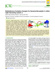 Multireference Excitation Energies for ... - ACS Publications